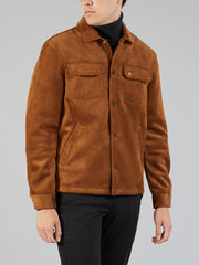 Finlay Faux Suede Jacket In Teak