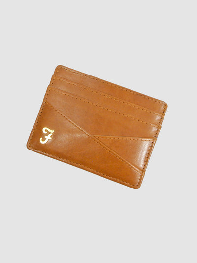 Johnson Smooth Leather Card Holder In Burnt Almond