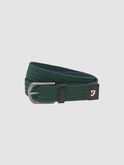 Edwin Woven Belt In Bottle Green