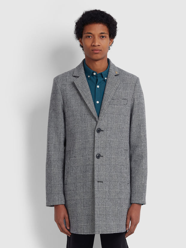 RUXTON CHECK WOOL BLEND OVERCOAT IN TRUE NAVY