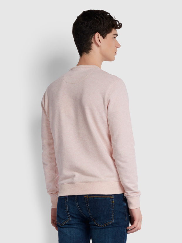 Tim Cotton Crew Neck Sweatshirt In Blush Marl