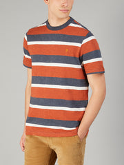 Celtic Striped T-Shirt In Rust Marl