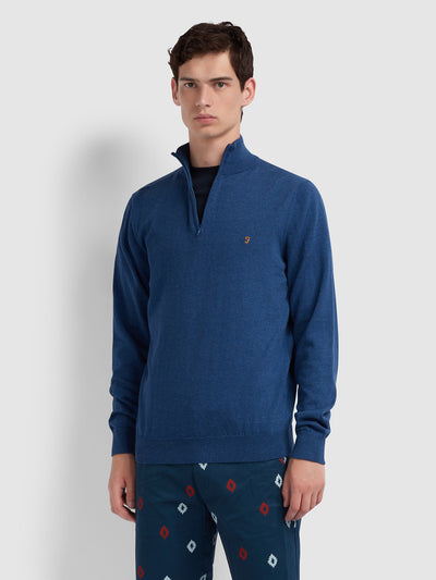 Redchurch Cotton Quarter Zip Jumper In Dusky Blue