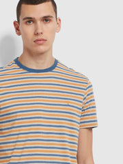 Alginet Slim Fit Striped Organic Cotton T-Shirt In Cold Metal