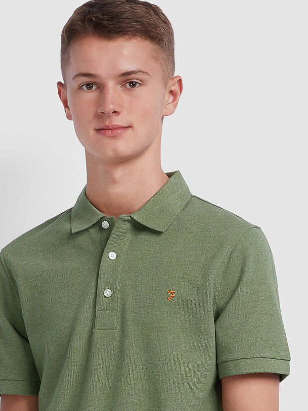 BLANES SLIM FIT POLO SHIRT IN WINTER BALSAM MARL