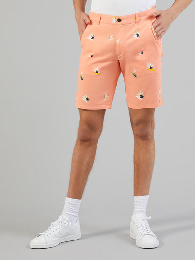 Hawk Balearic Print Shorts In Peach