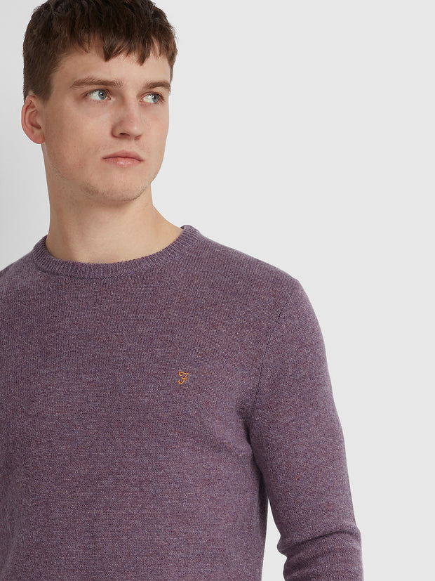 ROSECROFT LAMBSWOOL CREW NECK JUMPER IN ROSE TAUPE MARL