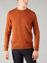 Rosecroft Lambswool Crew Neck Jumper In Gingerbread Marl