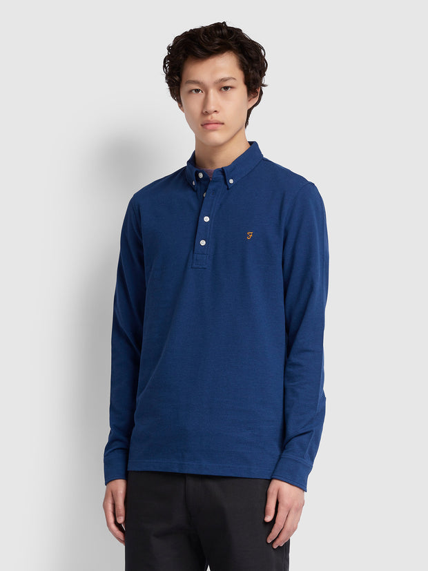 Ricky Slim Fit Long Sleeve Polo Shirt In Blue Peony Marl