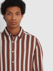 Evison Casual Fit Striped Shirt In Burnt Red