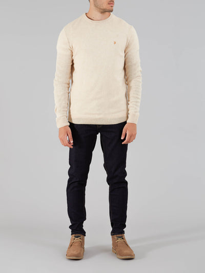 ROSECROFT LAMBSWOOL CREW NECK JUMPER IN OATMEAL