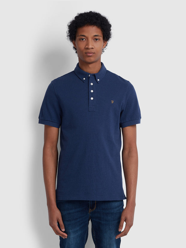 RICKY SLIM FIT POLO SHIRT IN BLUE PEONY MARL