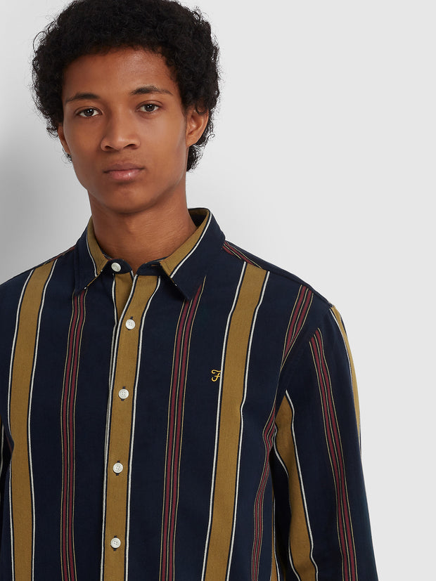 LAIRD CASUAL FIT STRIPED SHIRT IN TRUE NAVY