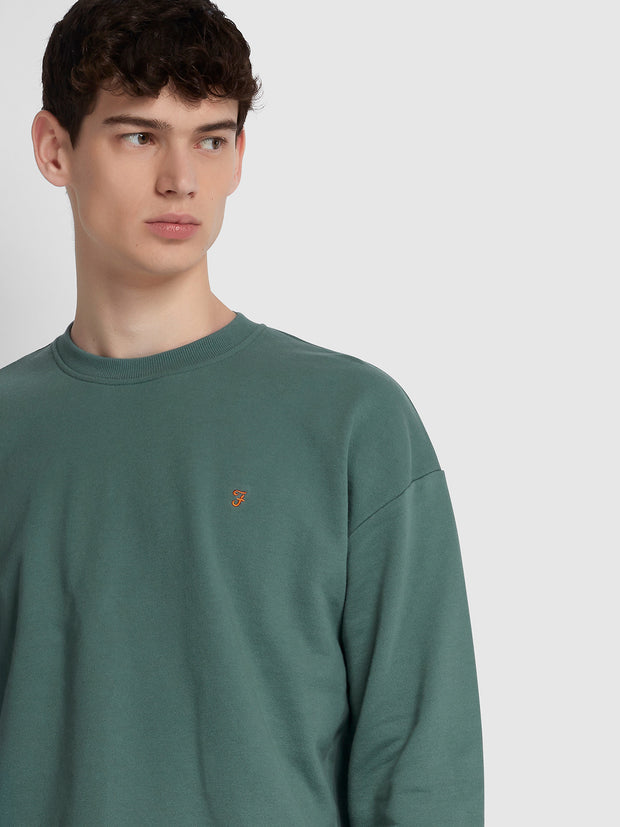 BATES COTTON CREW NECK SWEATSHIRT IN EDEN GREEN