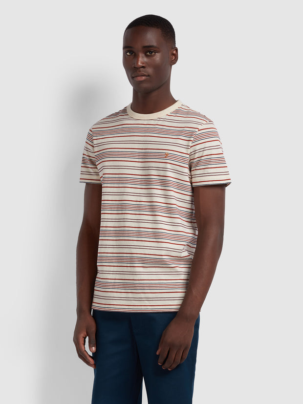 Rosedale Slim Fit Striped T-Shirt In Cream