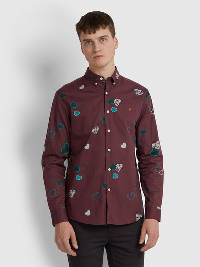 Darrell Casual Fit Printed Shirt In Farah Red