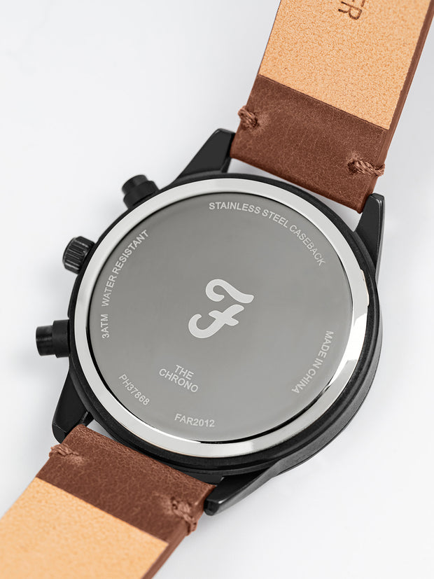 Farah Chrono Watch With Leather Strap In Chestnut