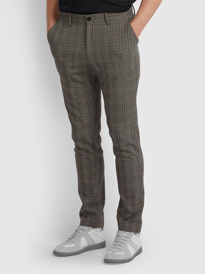 Elm Regular Fit Prince Of Wales Check Trousers In Light Sand