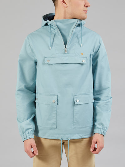 HARTNOLL OVERHEAD HOODED JACKET IN LIGHT TURQUOISE