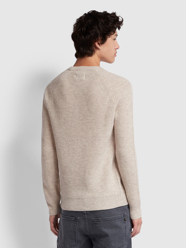 Garway Lambswool Ribbed Knit Crew Neck Jumper In Linen