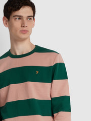 BARNES COTTON STRIPED CREW NECK SWEATSHIRT IN BRIGHT EMERALD
