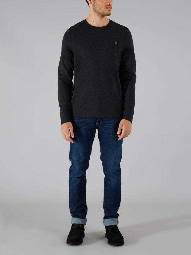 DENNY SLIM FIT LONG SLEEVE T-SHIRT IN BLACK MARL