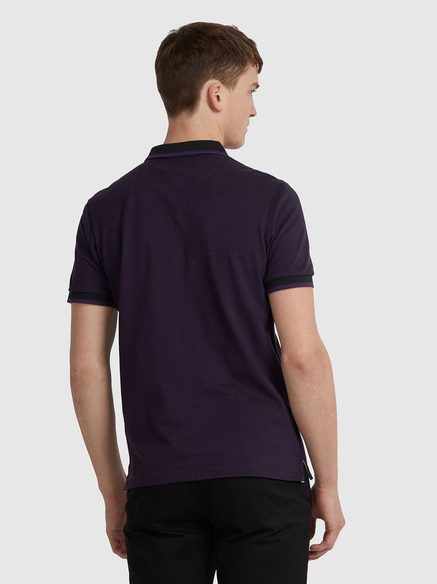 BASEL SLIM FIT TIPPED POLO SHIRT IN BRIGHT PURPLE
