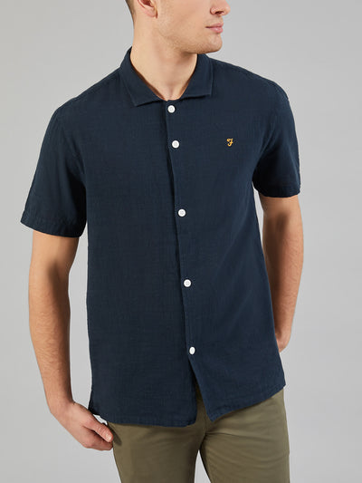 Archie Casual Fit Short Sleeve Shirt In True Navy