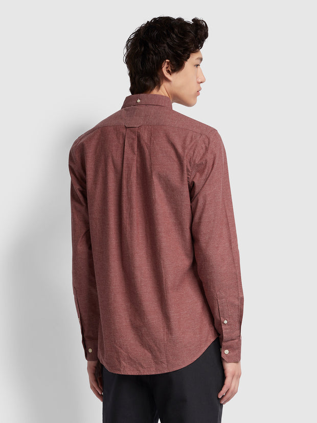 STEEN SLIM FIT BRUSHED COTTON OXFORD SHIRT IN DARK MAUVE