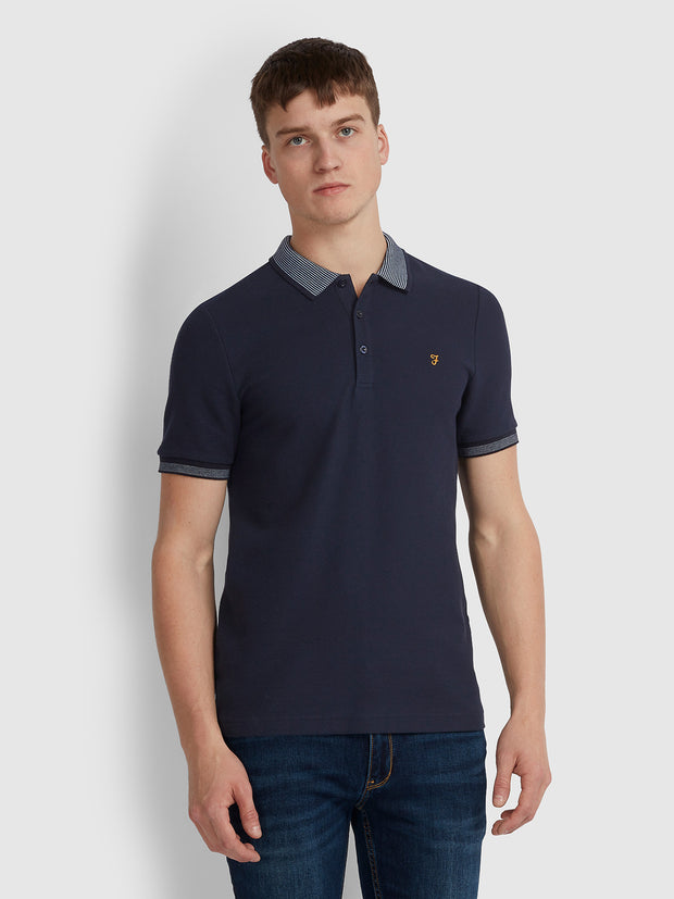 MILLS SLIM FIT CONTRAST TIPPED POLO SHIRT IN TRUE NAVY