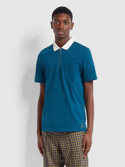 Farah X YMC Lubbock Polo Shirt In Sailor Blue