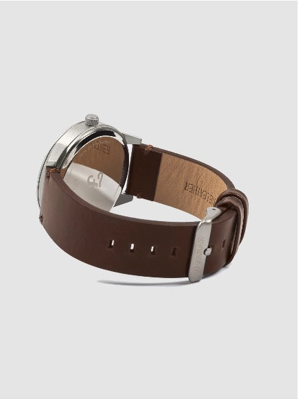 Farah Classic Watch With Leather Strap In Chestnut