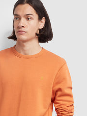Tim Cotton Crew Neck Sweatshirt In Moroccan Orange