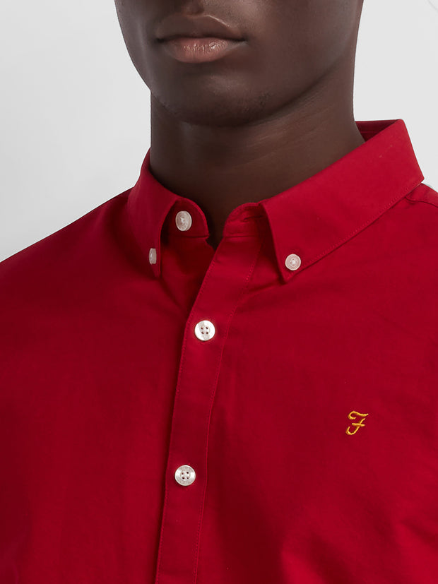 BREWER SLIM FIT OXFORD SHIRT IN RED CHILLI