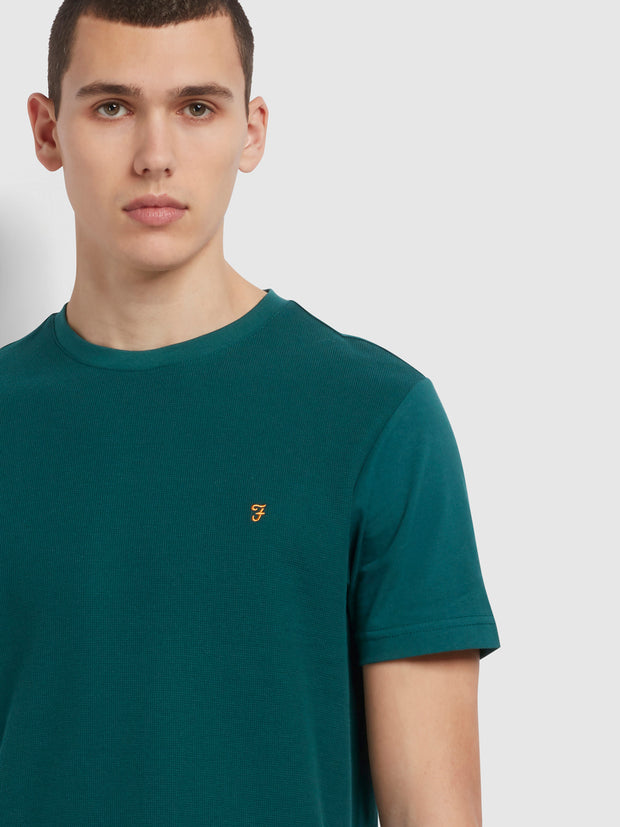 Longbow Slim Fit Textured Organic Cotton T-Shirt In Dark Teal