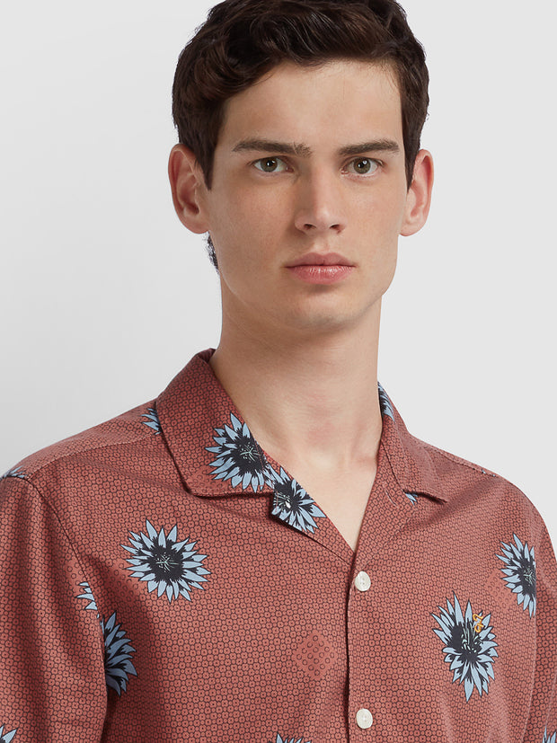 Odessa Casual Fit Short Sleeve Floral Print Shirt In Jalapeno