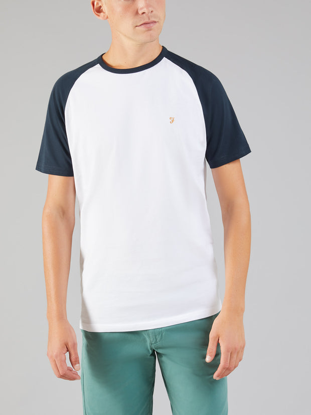 ZEMLAK SLIM FIT RAGLAN SLEEVE T-SHIRT IN TRUE NAVY