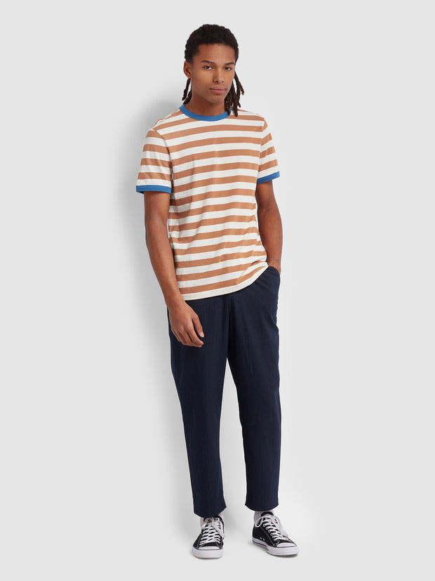 Belgrove Slim Fit Striped T-Shirt In Moroccan Orange
