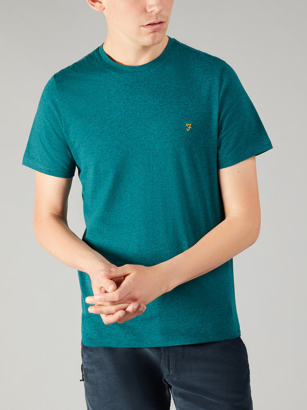 DENNY SLIM FIT MARL T-SHIRT IN DARK TEAL MARL