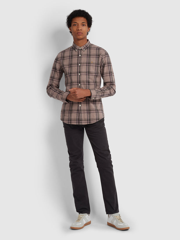 STEEN SLIM FIT BRUSHED COTTON CHECK SHIRT IN DARK MAUVE