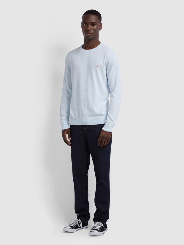 Mullen Cotton Crew Neck Jumper In Sky Blue