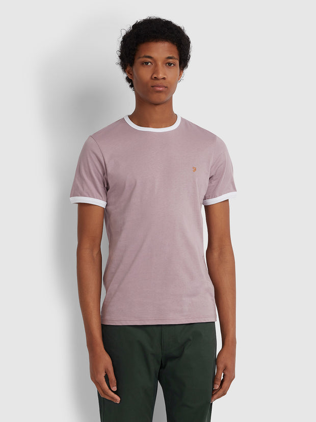 GROVES SLIM FIT RINGER T-SHIRT IN WISTERIA