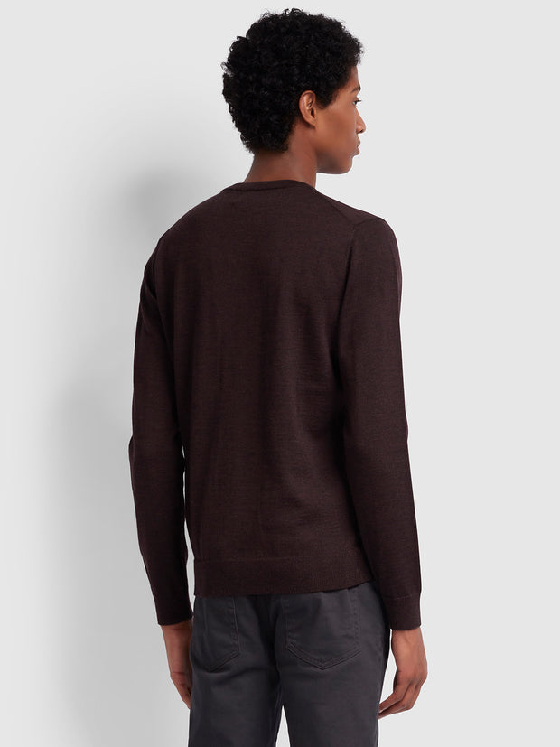 MULLEN MERINO WOOL CREW NECK JUMPER IN BORDEAUX