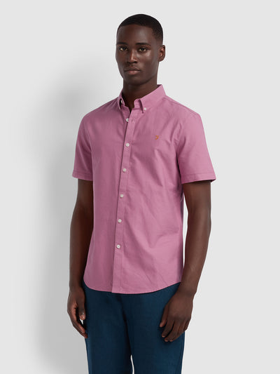 BREWER SLIM FIT SHORT SLEEVE OXFORD SHIRT IN DUSTY ROSE