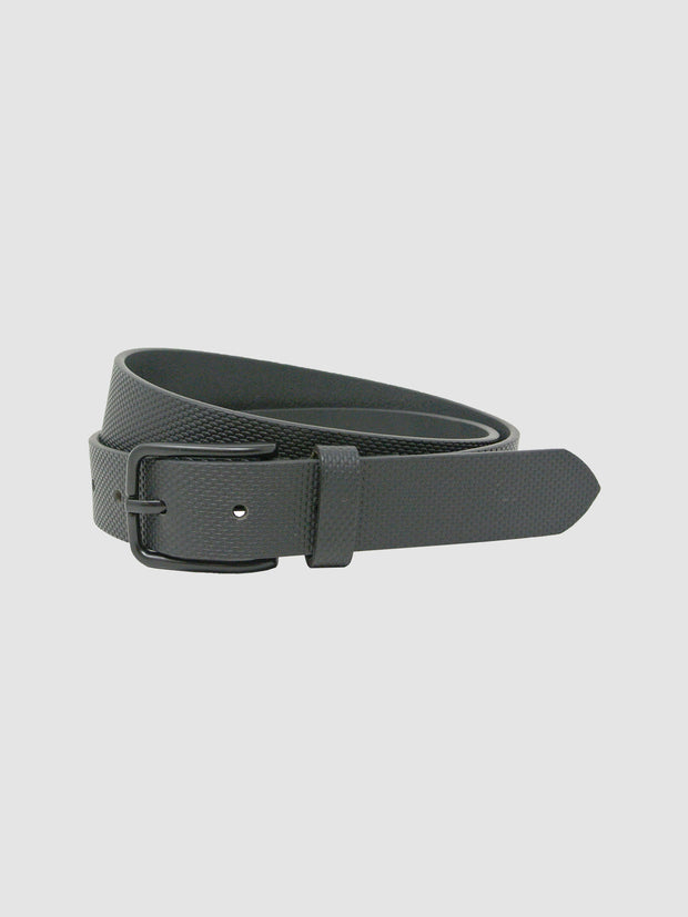 Trent Textured Leather Belt In Deep Black