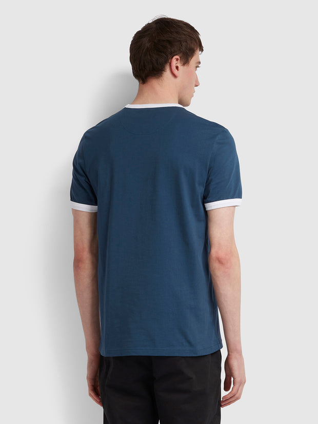 GROVES SLIM FIT RINGER T-SHIRT IN FARAH TEAL