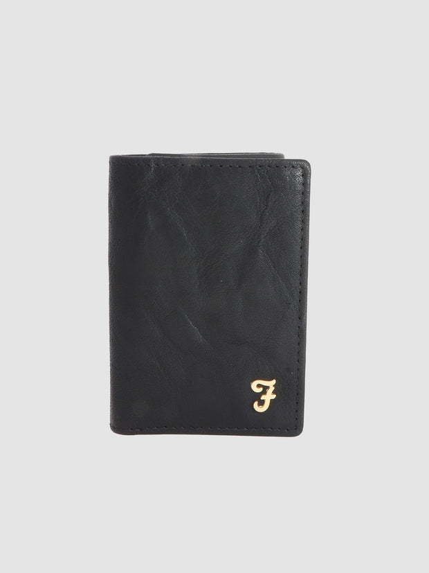Burnley Washed Leather Tri Fold Wallet In Deep Black