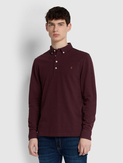 RICKY SLIM FIT LONG SLEEVE POLO SHIRT IN FARAH RED MARL