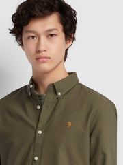 BREWER SLIM FIT OXFORD SHIRT IN MILITARY GREEN