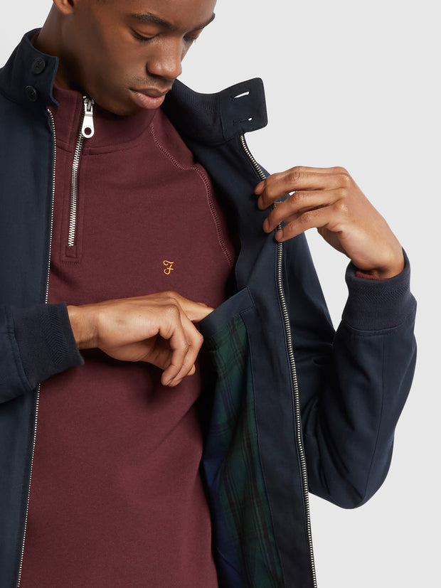 Hardy Organic Cotton Harrington Jacket In True Navy